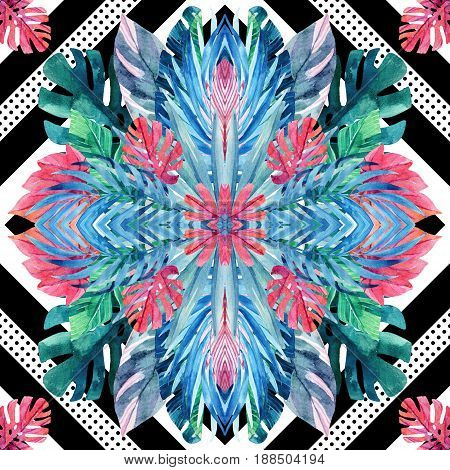 Watercolor tropical leaves symmetric arrangement on geometrical background. Symmetrical mirrored water color exotic floral seamless pattern. Hand painted colorful natural illustration