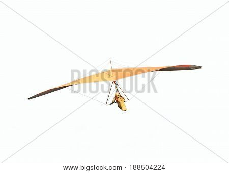 Hang glider is soaring in a gliding flight hanging on a harness below the wing isolated on white backgorund