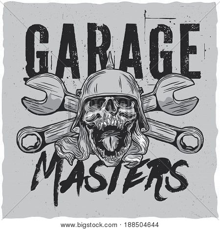 Garage masters t-shirt label design with illustraton of skull at the helmet with a wrench on a background