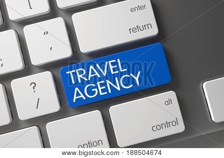 Travel Agency Concept: Metallic Keyboard with Travel Agency, Selected Focus on Blue Enter Key. 3D Render.