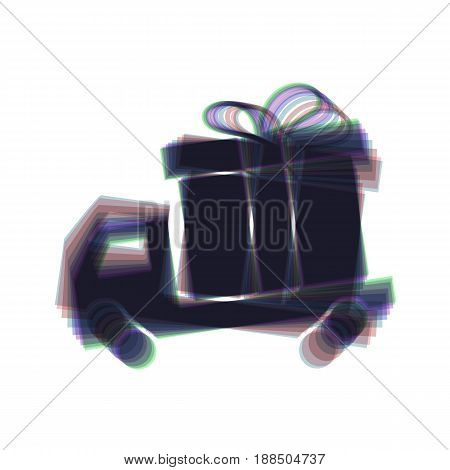 Delivery gift sign. Vector. Colorful icon shaked with vertical axis at white background. Isolated.