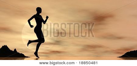 digital background showing the silhouette of a female runner on the beach