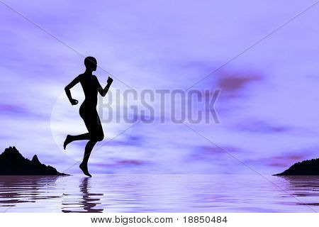 digital background showing the silhouette of a female runner on the beach, room for text