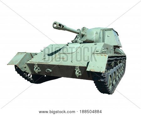 Armored self-propelled gun isolated on a white background. Tank howitzer