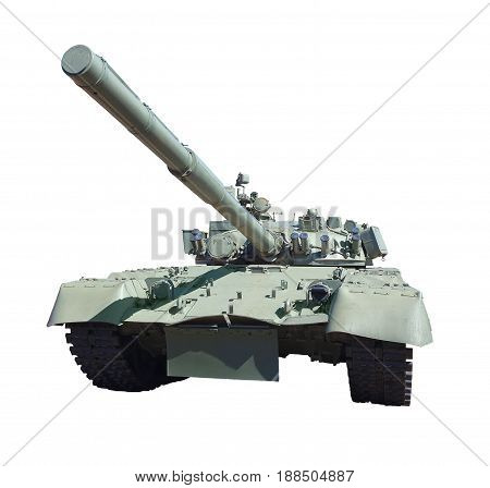 military equipment tank cut out on white background.