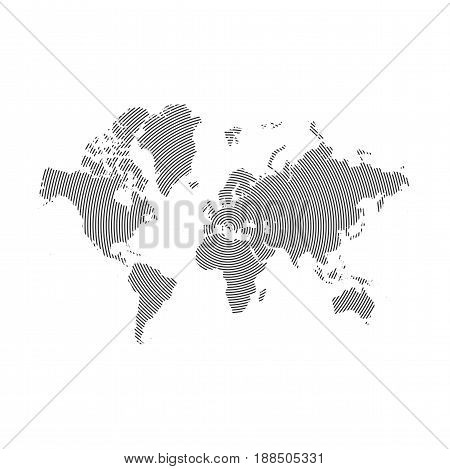 Abstract similar World Map with Lines. Striped World vector Map