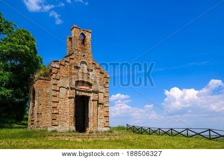 Remains of old ruined monastery church on the hill above small town of Titel in Vojvodina Serbia