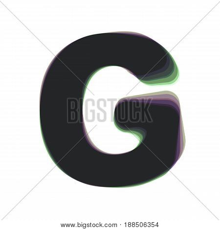 Letter G sign design template element. Vector. Colorful icon shaked with vertical axis at white background. Isolated.