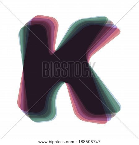 Letter K sign design template element. Vector. Colorful icon shaked with vertical axis at white background. Isolated.