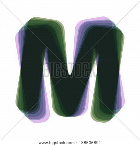 Letter M sign design template element. Vector. Colorful icon shaked with vertical axis at white background. Isolated.