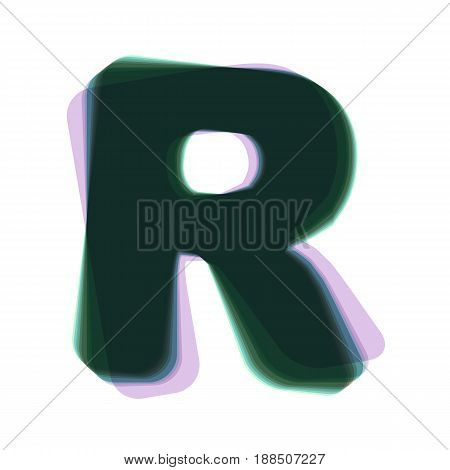 Letter R sign design template element. Vector. Colorful icon shaked with vertical axis at white background. Isolated.