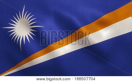 Marshall Islands flag with fabric texture. 3D illustration.