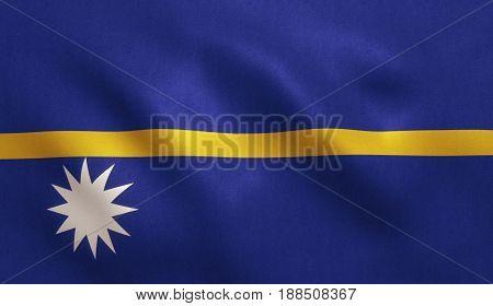 Nauru flag with fabric texture. 3D illustration.