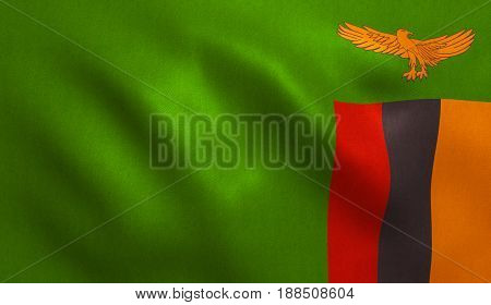Zambia flag with fabric texture. 3D illustration.