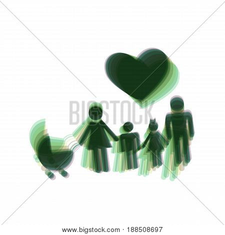 Family sign with heart. Husband and wife are kept children's hands. Vector. Colorful icon shaked with vertical axis at white background. Isolated.