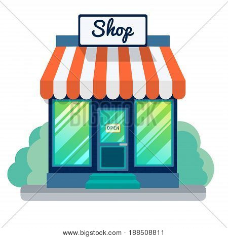 Vector opened store or shop icon. Small blue building with big windows, stripey roof and sign opened. Flat modern design