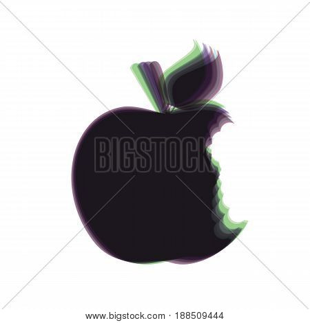 Bite apple sign. Vector. Colorful icon shaked with vertical axis at white background. Isolated.