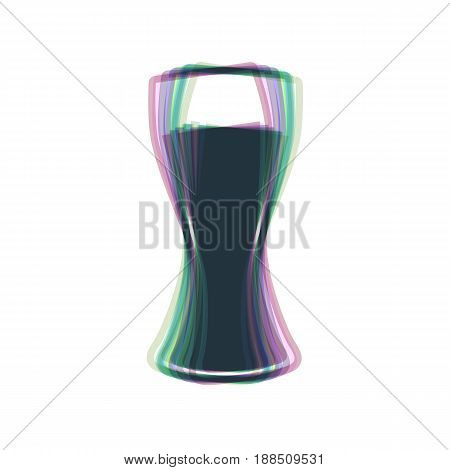 Beer glass sign. Vector. Colorful icon shaked with vertical axis at white background. Isolated.