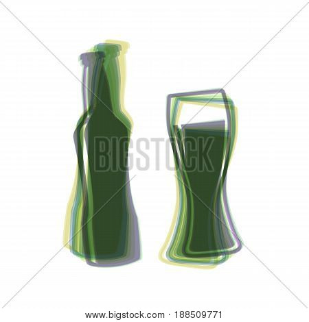 Beer bottle sign. Vector. Colorful icon shaked with vertical axis at white background. Isolated.