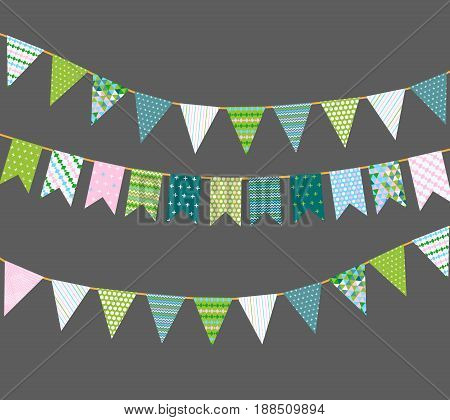 Different colorful bunting for decoration of invitations, greeting cards etc, bunting flags with colorful patterns, vector eps10 illustration