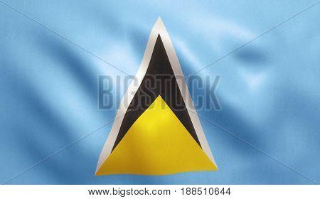 Saint Lucia flag with fabric texture. 3D illustration.