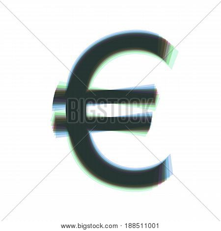 Euro sign. Vector. Colorful icon shaked with vertical axis at white background. Isolated.