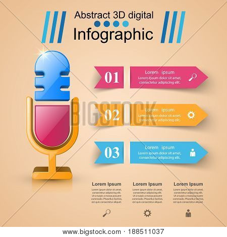 Business Infographics origami style Vector illustration. Microphone logo.
