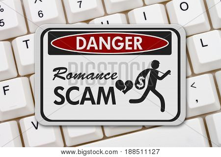 Romance Scam danger sign A black and white danger sign with text Romance Scan and theft icon on a keyboard 3D Illustration