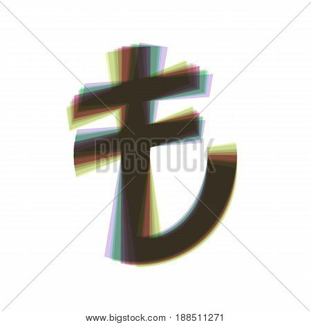 Turkiey Lira sign. Vector. Colorful icon shaked with vertical axis at white background. Isolated.