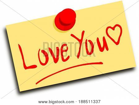 Note with text love you, 3D illustration