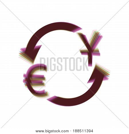 Currency exchange sign. Dollar and Euro. Vector. Colorful icon shaked with vertical axis at white background. Isolated.
