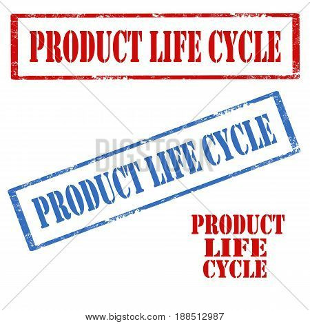 Set of stamps with text Product Life Cycle,vector illustration
