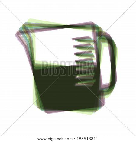 Beaker sign. Vector. Colorful icon shaked with vertical axis at white background. Isolated.
