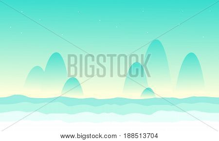 Desert mountain landscape game background collection illustration