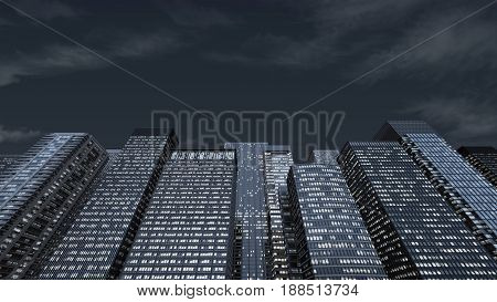 Wall from the facades of skyscrapers at night. 3d rendering