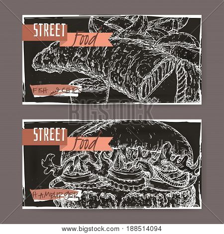 Set of two landscape banners with fish, chips and hamburger on black grunge background. British and American cuisine. Street food series. Great for market, restaurant, cafe, food label design.