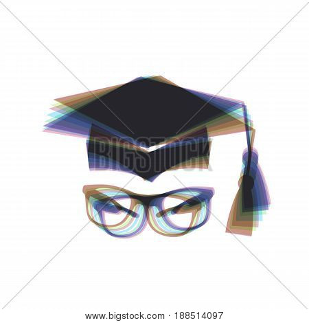 Mortar Board or Graduation Cap with glass. Vector. Colorful icon shaked with vertical axis at white background. Isolated.