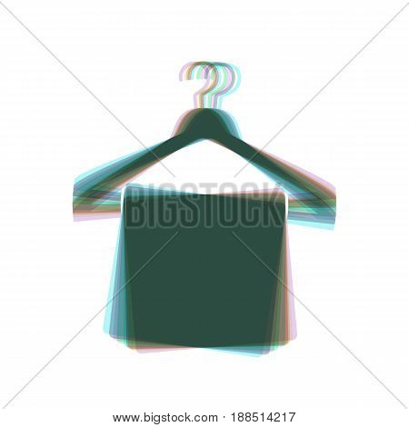 Towel On Hanger sign. Vector. Colorful icon shaked with vertical axis at white background. Isolated.