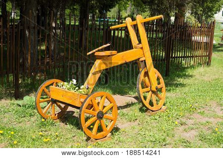 Wooden Self-made Bicycle. Art Object In The Garden, Park