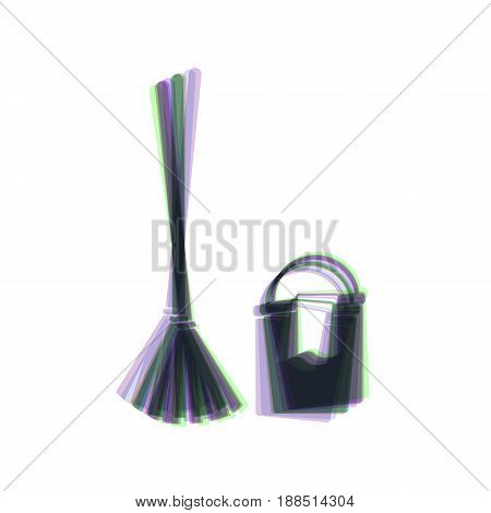 Broom and bucket sign. Vector. Colorful icon shaked with vertical axis at white background. Isolated.