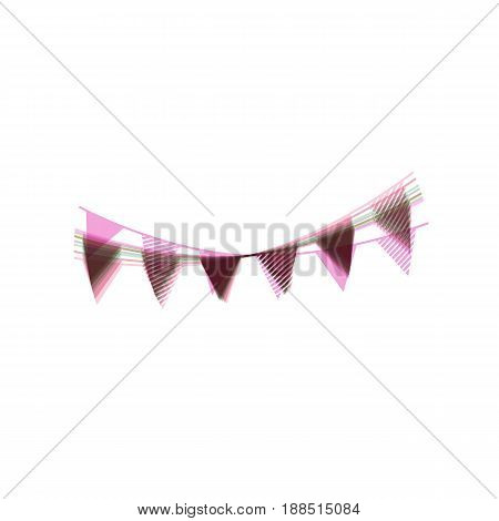 Holiday flags garlands sign. Vector. Colorful icon shaked with vertical axis at white background. Isolated.