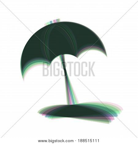Umbrella and sun lounger sign. Vector. Colorful icon shaked with vertical axis at white background. Isolated.