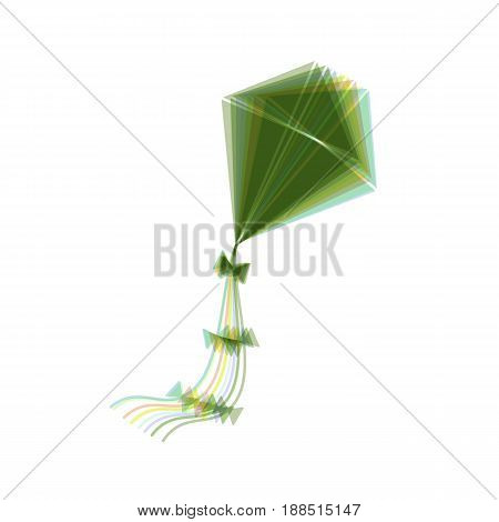 Kite sign. Vector. Colorful icon shaked with vertical axis at white background. Isolated.