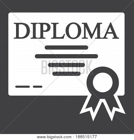 Diploma solid icon, Education and certificate, graduation vector graphics, a filled pattern on a black background, eps 10.