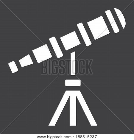 Telescope solid icon, astronomy and science, vector graphics, a filled pattern on a black background, eps 10.