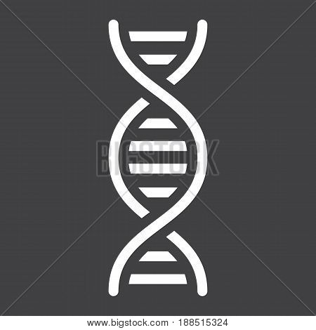 DNA solid icon, science and biology, vector graphics, a filled pattern on a black background, eps 10.