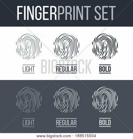 Abstract Fingerprints Set Print for Identity Person Identification Authorization System on Dark and White Background