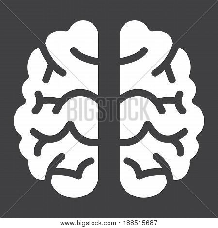 Brain solid icon, brainstorm and idea, medical vector graphics, a filled pattern on a black background, eps 10.