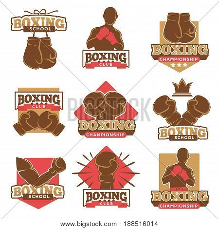 Boxing club logos templates for boxer championship or box school tournament. Vector labels of arm in boxing glove with knockout, victory stars and winner crown