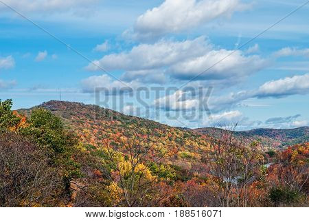 Brilliant Autumn colors along this mountainside in Harriman State Park in New York.